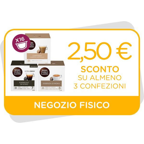 BUONO SCONTO DA 2,50€ VALIDO SU ALMENO 3 CONFEZIONI 16 CAPSULEImmagine