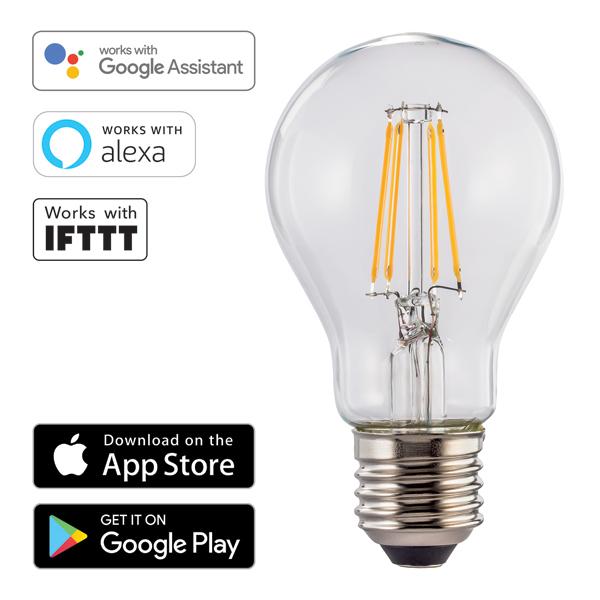 Lâmpada Wi-Fi LED da Hama − E27, 7W, branca quente Imagem