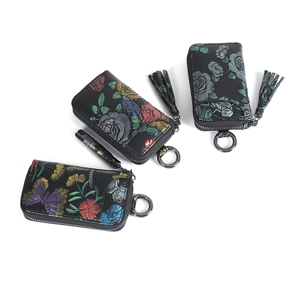 Trends Hand-Printed Wallet with Car Key Holder Image