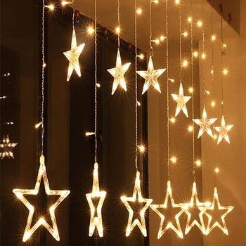 String Fairy Five Pointed Star Shape Curtain LED Lights, 2.5m
