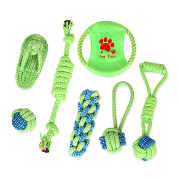 Trends Pet Dog Interactive Chewing Rope Ball Toy Set 7pcs