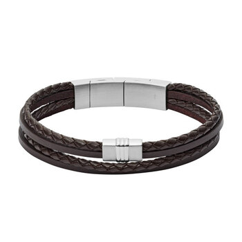 Fossil Multi-Strand Braided Leather Bracelet