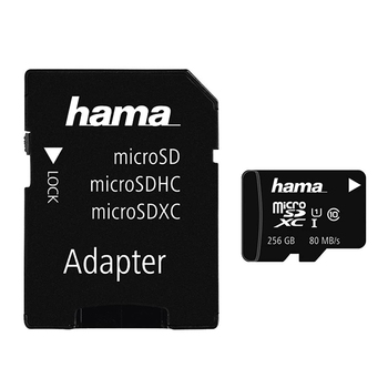 Hama microSDXC UHS-I Class 10 Memory Card 256GB + Adapter/Mobile
