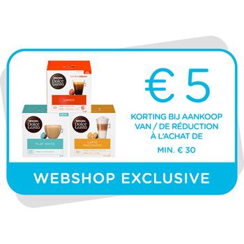 Kortingsbon €5 te gebruiken op onze webshop
