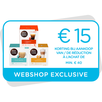Kortingsbon €15 te gebruiken op onze webshop