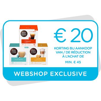 Kortingsbon €20 te gebruiken op onze webshop